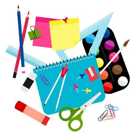 Torna al concetto creativo della scuola sul design del telaio di sfondo di colore bianco. Cartone animato divertente ufficio o strumenti fissi di scuola sulla scrivania