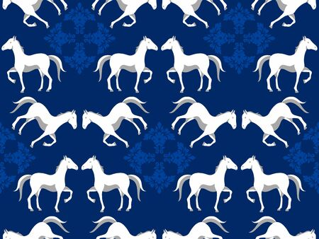 Horse print background. Seamless damask pattern with animal
