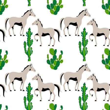 Seamless pattern with cute horse and cactus plant in desert Çizim