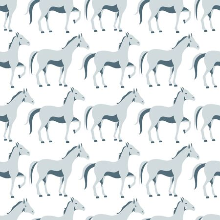 Seamless  pattern with walking horse on a white background Ilustrace