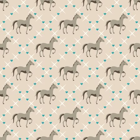 Seamless pattern with small horse and tiny hearts