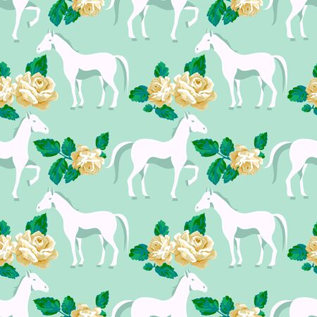 Floral seamless pattern with horse and pretty roses.  Horse vector print pattern.  Mint color background