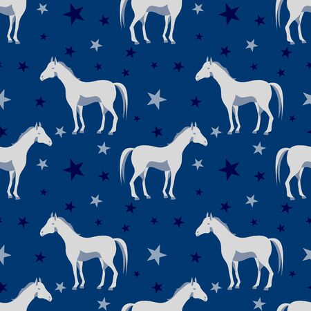 Seamless pattern with horse, star on a deep blue background. Sweet baby or kid print with animal  イラスト・ベクター素材