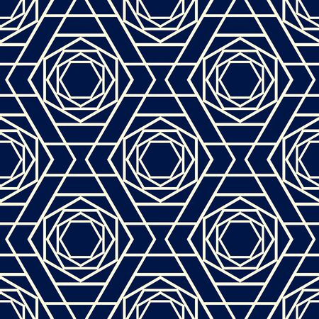 Seamless geometric flower pattern design.  Abstract small floral on a navy blue background  イラスト・ベクター素材