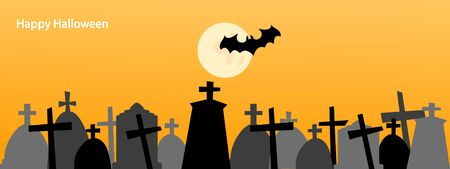 Happy Halloween background design with tombstone, moon and bats