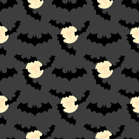 Halloween background. Seamless pattern with moon, bats