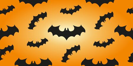 Halloween banner background. Seamless pattern with bats in an orange print design  イラスト・ベクター素材