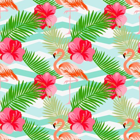Seamless floral vector summer pattern with tropical leaves, flamingo, hibiscus on a geometric background.