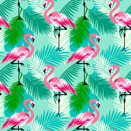 Seamless floral vector summer pattern with tropical jungle leaves, flamingo Иллюстрация