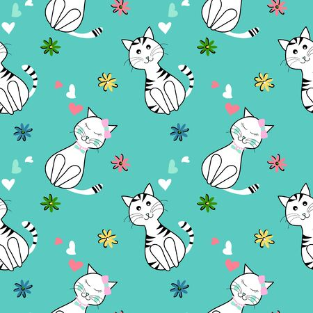 Seamless cute cats pattern with small flowers and hearts