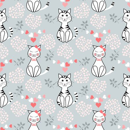 Seamless cute cats pattern with small leaves and hearts on a grey background 版權商用圖片 - 134574529