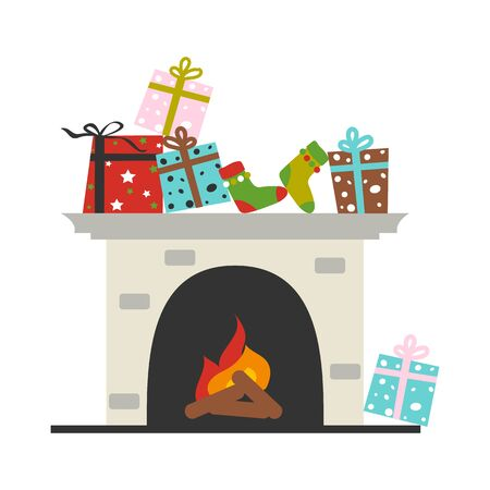 Fireplace with gift box and socks. Merry Christmas and  happy new year decoration vector design