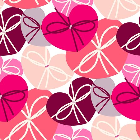 Heart shape gift boxes seamless pattern for Valentines day, Mothers day, birthday or romantic background print texture