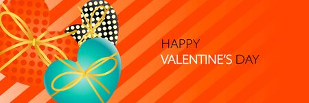 Happy Valentines Day banner with heart shaped gift boxes, ribbon and orange color striped texture background Illusztráció