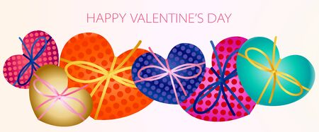 Happy Valentines Day banner with heart shaped gift boxes, ribbon horizontal long border