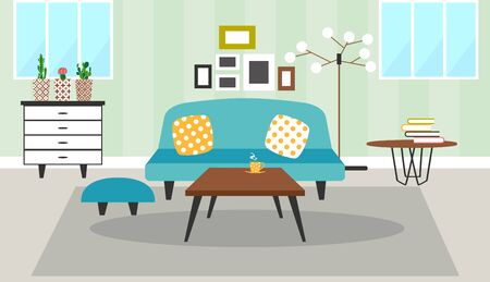 interior design of the living room. Modern family house decoration flat style background design