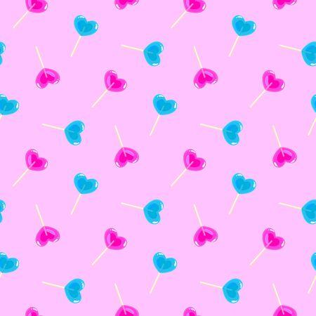 Valentines day pattern with heart shape sweet lollipop sticks