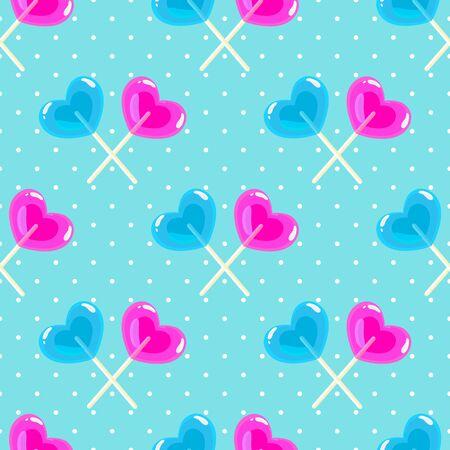 Valentines day pattern with heart shape sweet lollipop sticks on blue polka dot background
