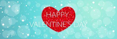 Happy Valentine's day long banner with glitter red heart on blue cute background Illusztráció