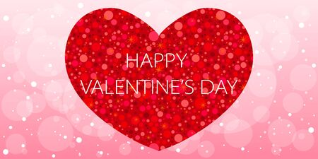 Happy Valentine's day long banner with glitter red heart on soft pink cute background
