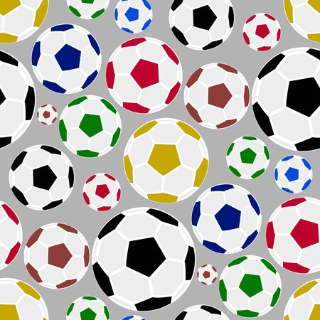 Seamless pattern with colorful soccer, football ball