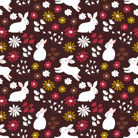 Spring, Easter vector seamless pattern cute retro rabbits, leaves and blossom little flowers. Easter bunny background