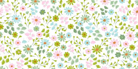 Pattern with simple pretty small flowers, little floral liberty seamless texture background. Spring, summer romantic blossom flower garden seamless pattern for your designs Vetores
