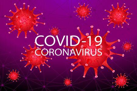 Covid 19, pandemic coronavirus, virus symbol warning vector illustration