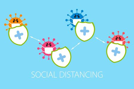 Social distance, protection  with covid 19 virus infection concept graphic design  イラスト・ベクター素材