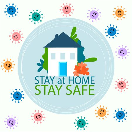 Covid 19, coronavirus protection, stay at home, self isolation  campaign poster vector. Covid-19 Social distancing protect prevention. Home quarantine concept design  イラスト・ベクター素材