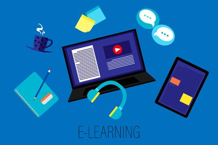 E-learning, digital, online class concept background, social distancing, computer, headphone, tablet  workplace design
