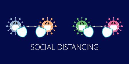 Social distancing prevention with shield protection, covid 19 virus infection concept design.  Covid-19 coronavirus, corona virus  イラスト・ベクター素材