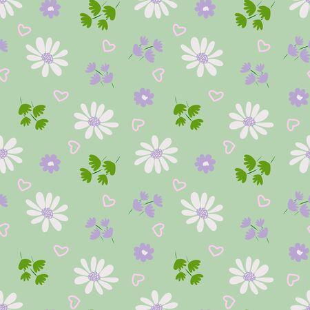 Pattern blossom flowers, flower garden pastel color seamless print on green background