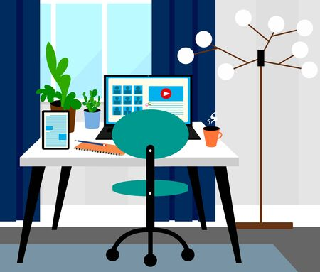 Home office room interior design, video conferences concept, online meeting, working from home