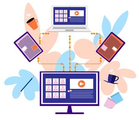 Video conference, online education, home office communication  vector illustration design
