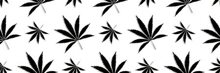 Pattern with Cannabis leaves, marijuana plants seamless vector background design