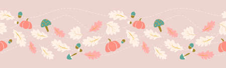 Autumn, fall leaves border seamless pattern concept design for seasonal, thanksgiving Illustration