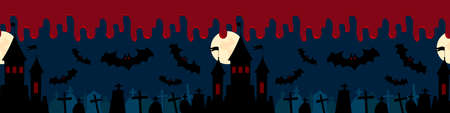 Halloween seamless border background gravestones, vampire, castle with full moon, bloody night banner design