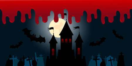 Halloween background gravestones, castle with full moon, bloody night Vettoriali