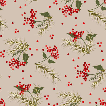 Christmas, winter red berries, tree fir branches background print pattern Vector Illustration