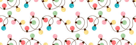 Christmas lights strings seamless pattern design. Retro colors Xmas cute circle lamps border background