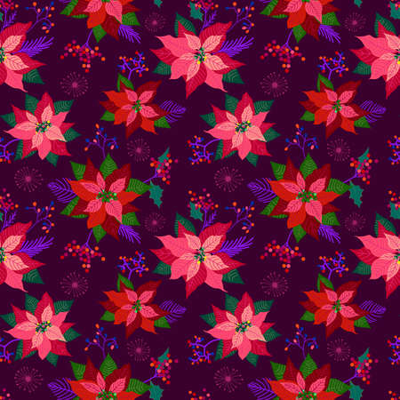 Seamless pattern of red poinsettia flower and leaves.