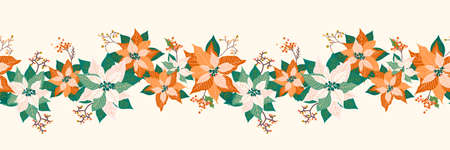 Winter Christmas floral seamless long border pattern background with pale poinsettia flower, leaf and elderberry fruits garland design