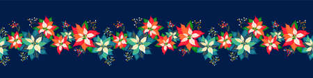 Merry Christmas and Happy New Year seamless long border pattern background with cute poinsettia flower, leaf and elderberry fruits garland design 向量圖像