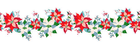 Merry Christmas and Happy New Year seamless long border pattern decoration background with cute poinsettia flower, leaf and elderberry fruits garland design 向量圖像