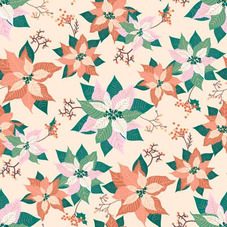 Winter Christmas floral poinsettia seamless pattern design, holiday seasonal print background with soft colors Ilustração