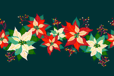 Merry Christmas and Happy New Year seamless border pattern background with cute poinsettia flower, leaf and elderberry fruits garland design