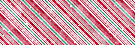 Peppermint candy cane diagonal stripes Christmas background with shiny snowflakes print seamless pattern 向量圖像