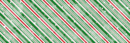 Peppermint candy cane Christmas background with diagonal stripes and shiny snowflakes print seamless pattern