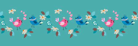 Easter, springtime day seamless border pattern with small daisy, butterfly and cute love birds